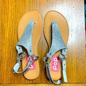 New Silver glitter sandals